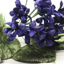 Vintage Posy of Purple Velvet Violets Hat Trim